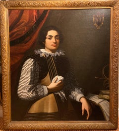 17th Century Italian Oil Painting Portrait of Music Prodigy Girolamo Frescobaldi