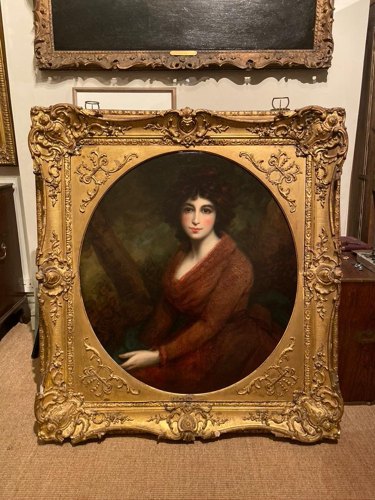 19th Century Oil Painting Portrait of a Muse For Sale 1