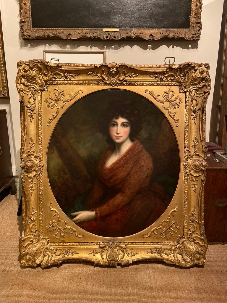 19th Century Oil Painting Portrait of a Muse For Sale 2