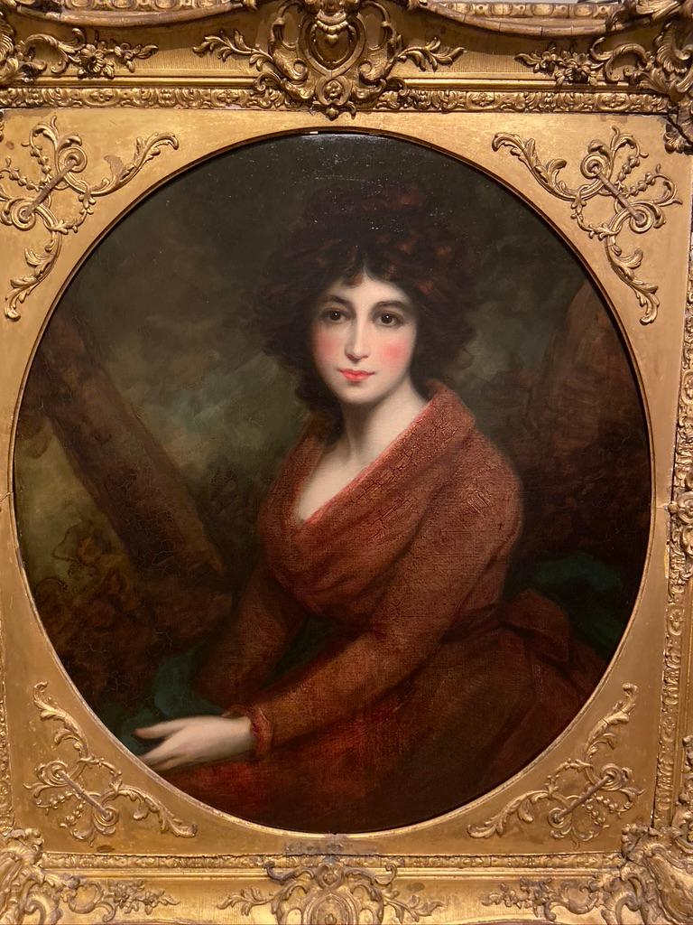 19th Century Oil Painting Portrait of a Muse - Brown Figurative Painting by John Opie