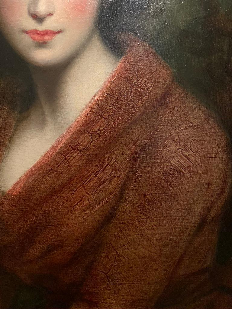 19th Century Oil Painting Portrait of a Muse For Sale 4