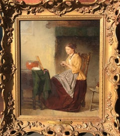 19th Century English Victorian Intimate Oil Painting of Girl plaiting her hair