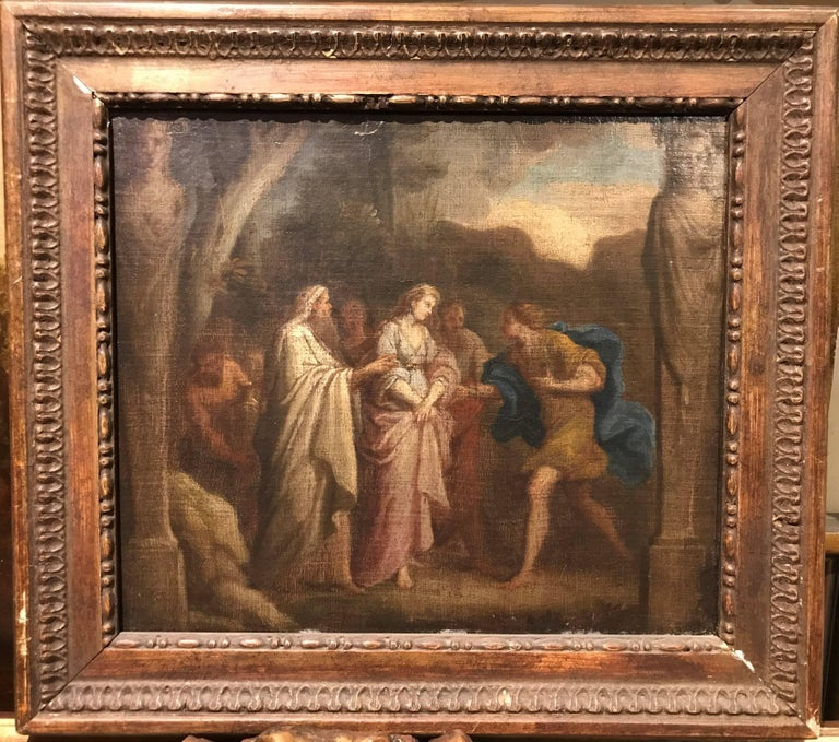 James Thornhill Landscape Painting - 18th Century Neoclassical Oil Painting of the Trojan War: Briseis & Achilles