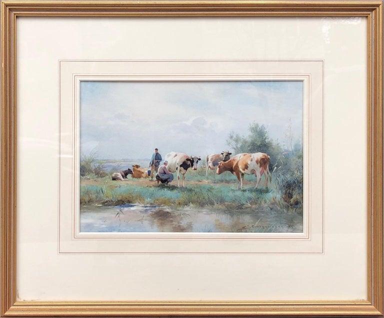 Adrianus Johannes Groenewegen Landscape Art - 19th Century Dutch Watercolour Landscape Painting with Cows: 'Milking Time'