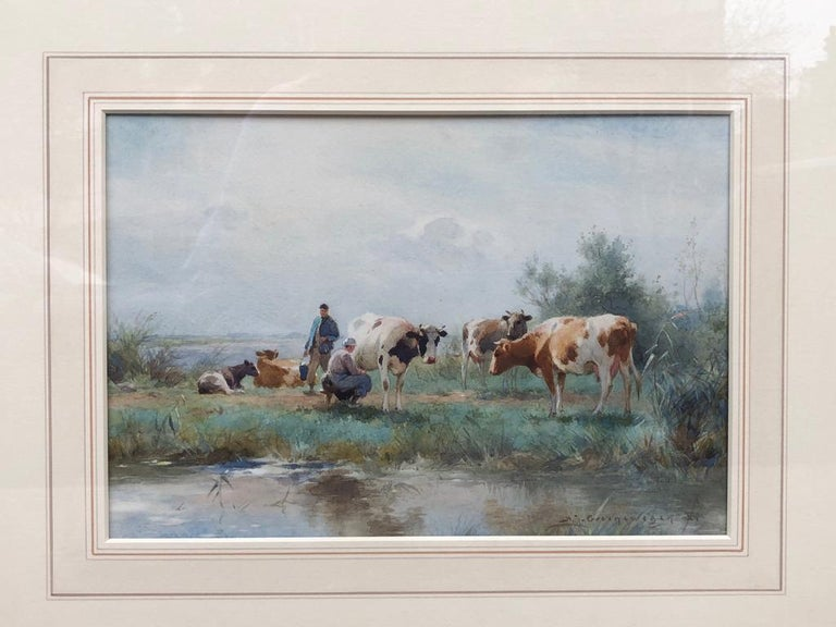 19th Century Dutch Watercolour Landscape Painting with Cows: 'Milking Time' - Old Masters Art by Adrianus Johannes Groenewegen