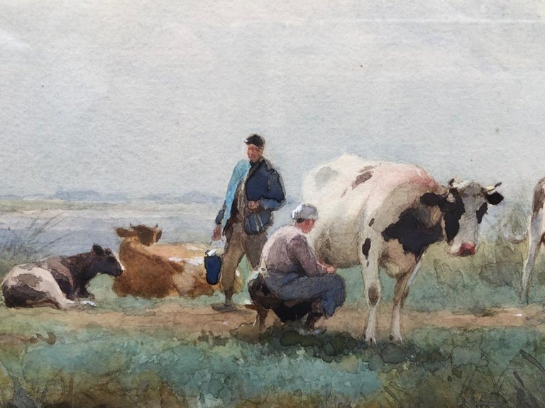 Adrianus Johannes GROENEWEGEN (Dutch, 1874-1963) Milking Time Signed 'A.J. Groenewegen' (lower right) Watercolour 16 ¾ x 20 inches, inc. frame  Provenance: Presented by the National Art Collections Fund E.E. Cook Collection Bequest, September