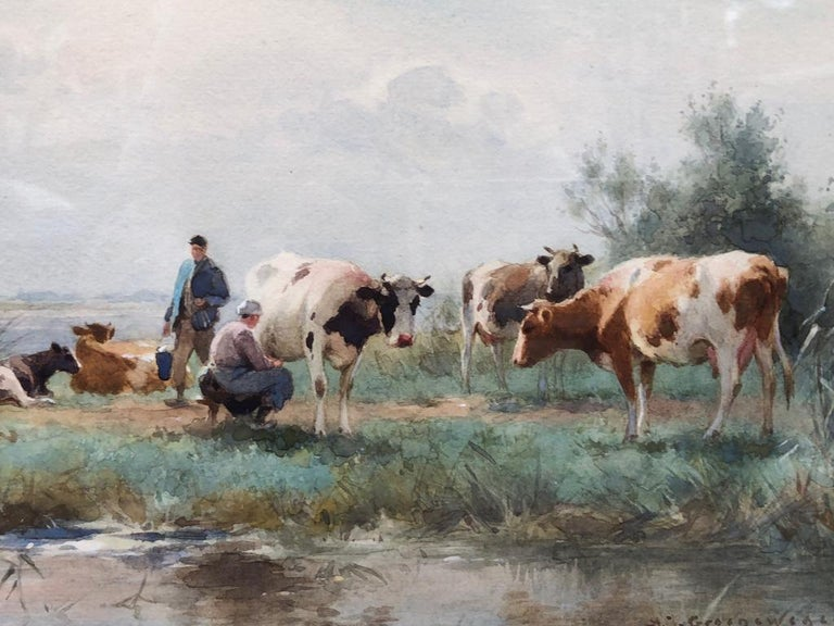 19th Century Dutch Watercolour Landscape Painting with Cows: 'Milking Time' For Sale 1
