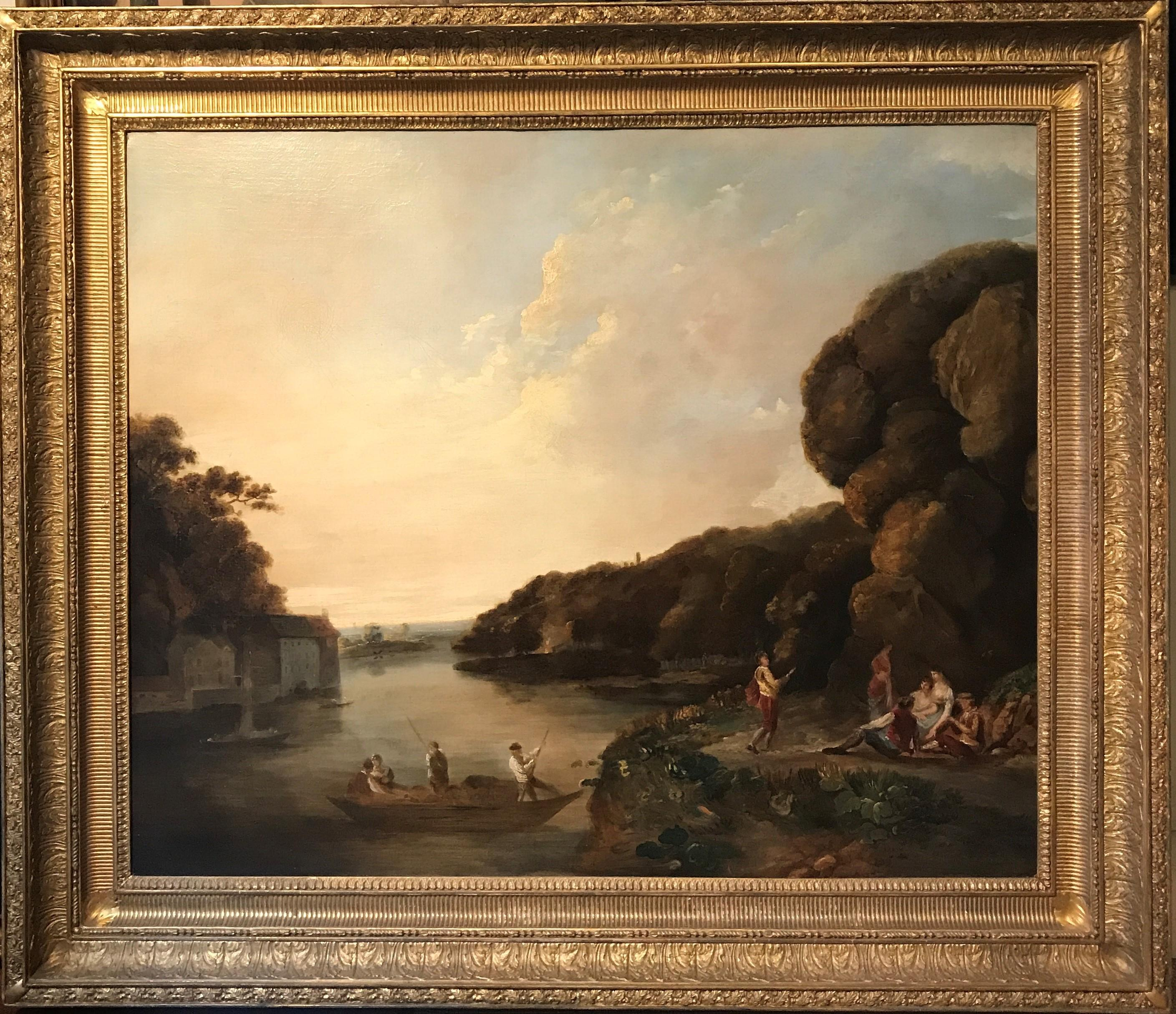 18th Century English Oil Landscape Painting: Elegant Figures alongside River Wye