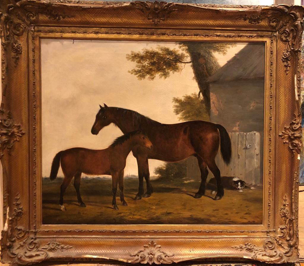 19th Century English Oil Horse Painting: Mare & Foal in landscape with Dog