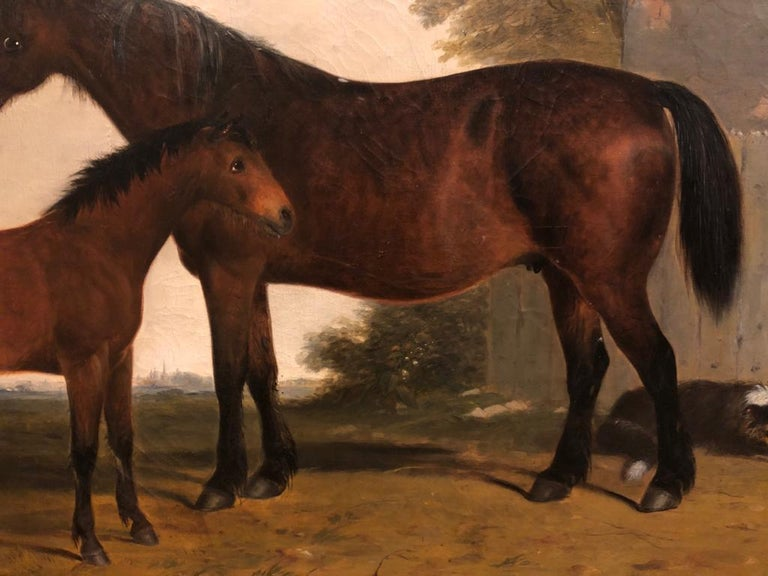 G. B. Newmarch (English, 1827 - 1873) Mare and Foal Signed 'G. B. Newmarch' and dated '1854' Oil on canvas 34 ½ x 39 ½ inches, inc. frame The original frame needs some repairs and cleaning that are included in the price.  Born in the North East of