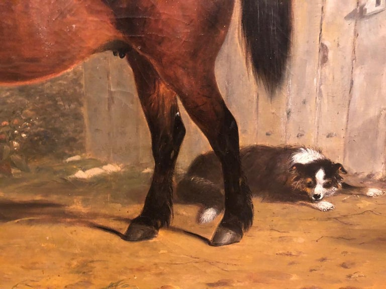 19th Century English Oil Horse Painting: Mare & Foal in landscape with Dog  For Sale 1