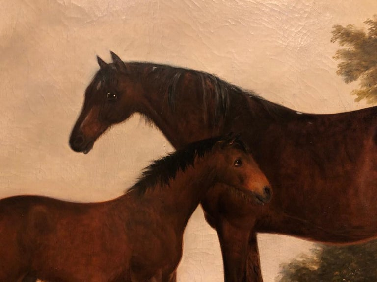 19th Century English Oil Horse Painting: Mare & Foal in landscape with Dog  For Sale 2