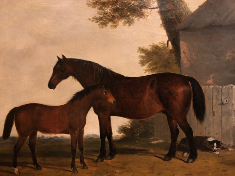 19th Century English Oil Horse Painting: Mare & Foal in landscape with Dog  For Sale 3