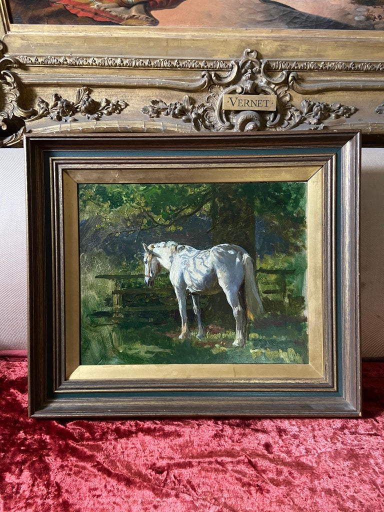 A dappled Grey in the Orchard - Black Animal Painting by Lucy Kemp Welch
