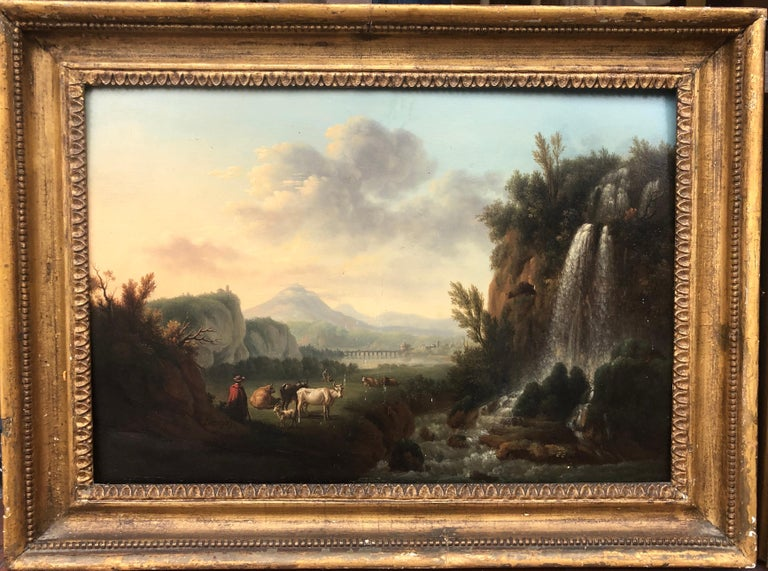 Pair of 18th Century Landscapes on Panel - Painting by Petit