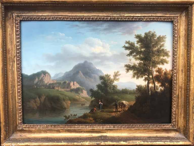 Pair of 18th Century Landscapes on Panel - Brown Landscape Painting by Petit
