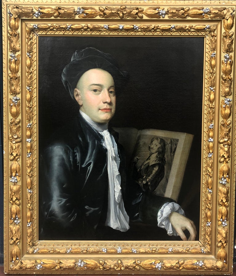 Thomas Gibson Portrait Painting - 18th Century Portrait of George Vertue with an Engraving of The Prince of Savoy