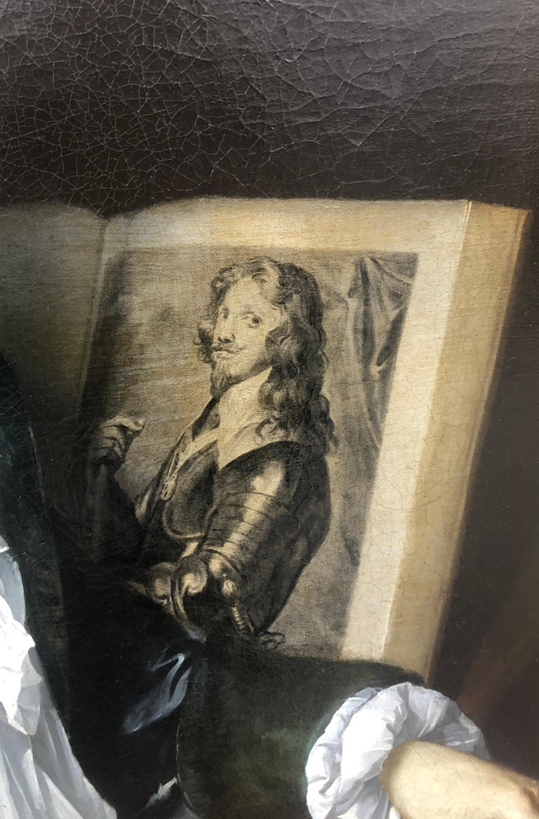 18th Century Portrait of George Vertue with an Engraving of The Prince of Savoy - Painting by Thomas Gibson