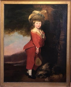 A Large Full-Length Portrait of a Boy in Red with Badminton Paraphernalia
