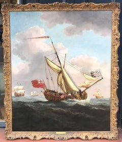 Enormous 17th Century Seascape Painting of Charles II' Yacht HMS Henrietta