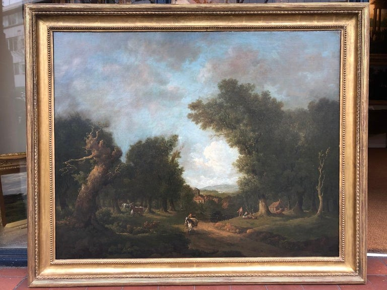 Bucolic 18th Century Landscape by Irish Painter George Barret Sr. - Gray Landscape Painting by George Barret Sr.
