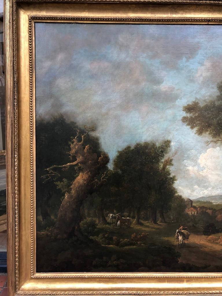 George Barret Sr. (1730-1784) Landscape with Figures Oil on Canvas 47 x 57 inches framed  George Barret Sr. RA (c.1730 – 29 May 1784) was one of irelands great landscape painters best known for his oil paintings and for some of his watercolours. He