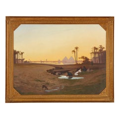 Large Orientalist landscape painting of the pyramids of Giza, Egypt