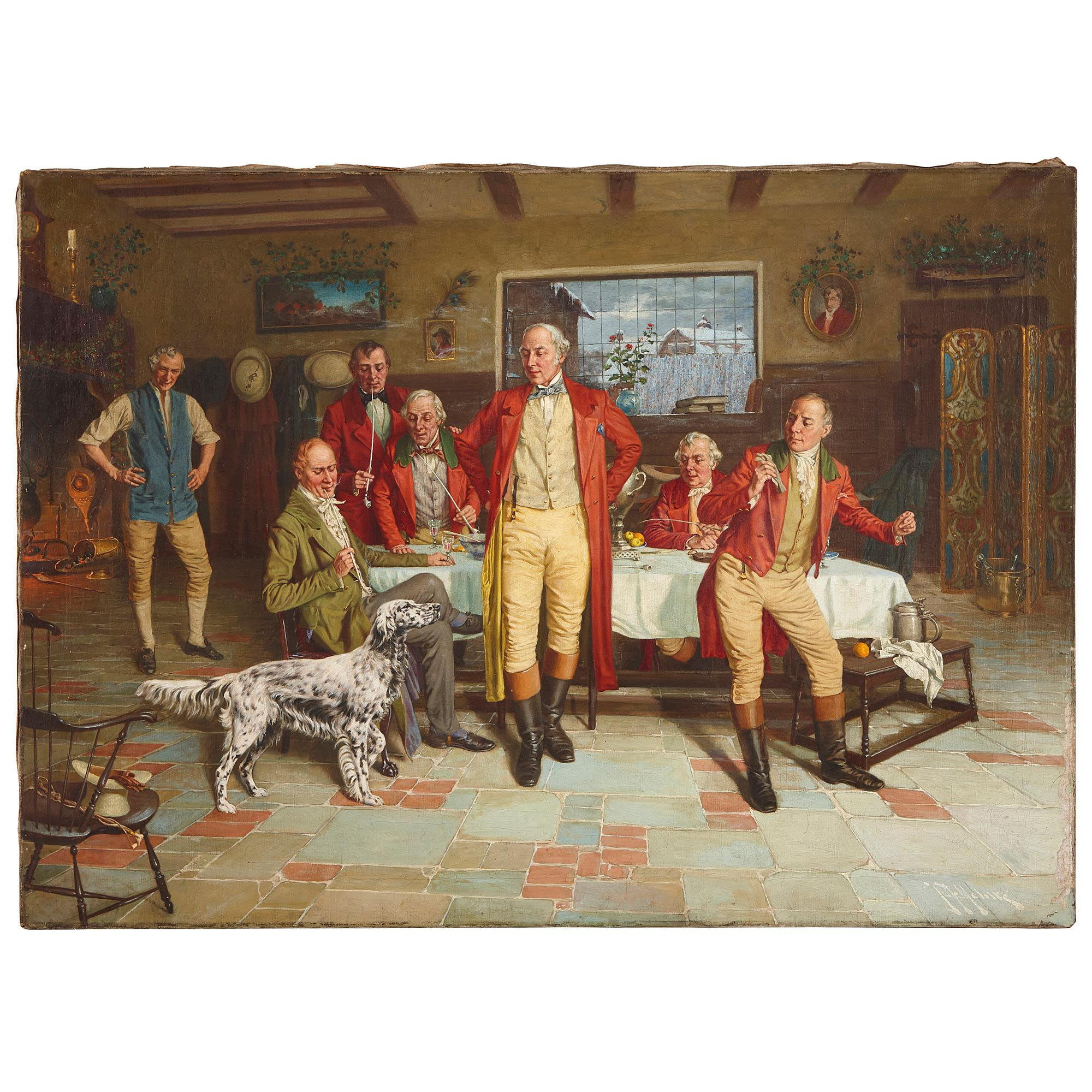 Group portrait painting after the hunt, oil on canvas