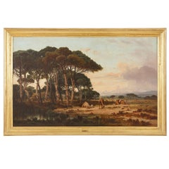 Oil on canvas landscape painting with camels by Lefebvre