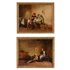 Two Italian oil paintings with motherhood theme by Chierici