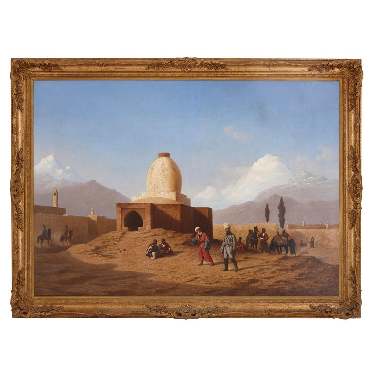 Charles-Theodore Frere Figurative Painting - Orientalist oil painting in giltwood frame by Frère