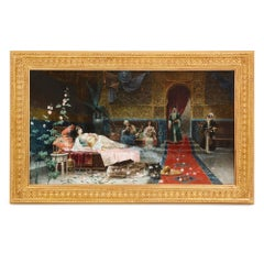 Large Orientalist painting of a harem by Giménez-Martín