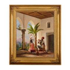 Orientalist painting of parents playing with their son by Simonsen