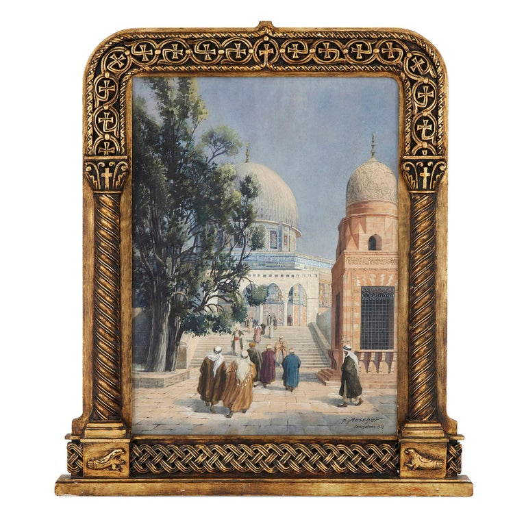 This impressive watercolour depicts the Dome of the Rock in Jerusalem. The Dome is visible behind a pointed-arch screen, at the top of a staircase upon which figures traverse to and from the mosque. These figures were Middle Eastern dress,