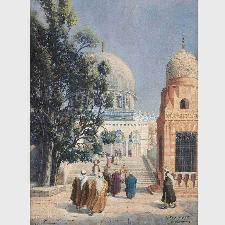 Orientalist watercolour of the Dome of the Rock by Hans Aescher For Sale 1