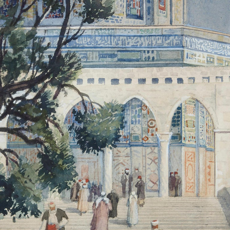 Orientalist watercolour of the Dome of the Rock by Hans Aescher For Sale 3