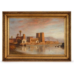 Orientalist oil painting of Egyptian temple by Koerner