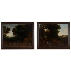 Two oil on panel Old Master landscape paintings by Johannes Jakob Hartmann