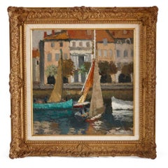 French Impressionist painting of a marina scene by René Fontayne