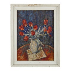 Expressionist oil painting of red tulips by Hermann Fechenbach