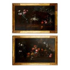 Pair of Antique 17th Century Floral Still Life Paintings, attr. Vincenzino