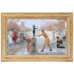 'Blind Man's Bluff', Large Italian Oil Painting by Emilio Vasarri
