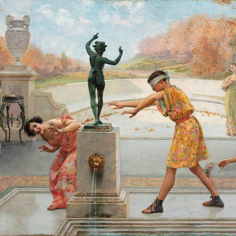 'Blind Man's Bluff', Large Italian Oil Painting by Emilio Vasarri For Sale 2
