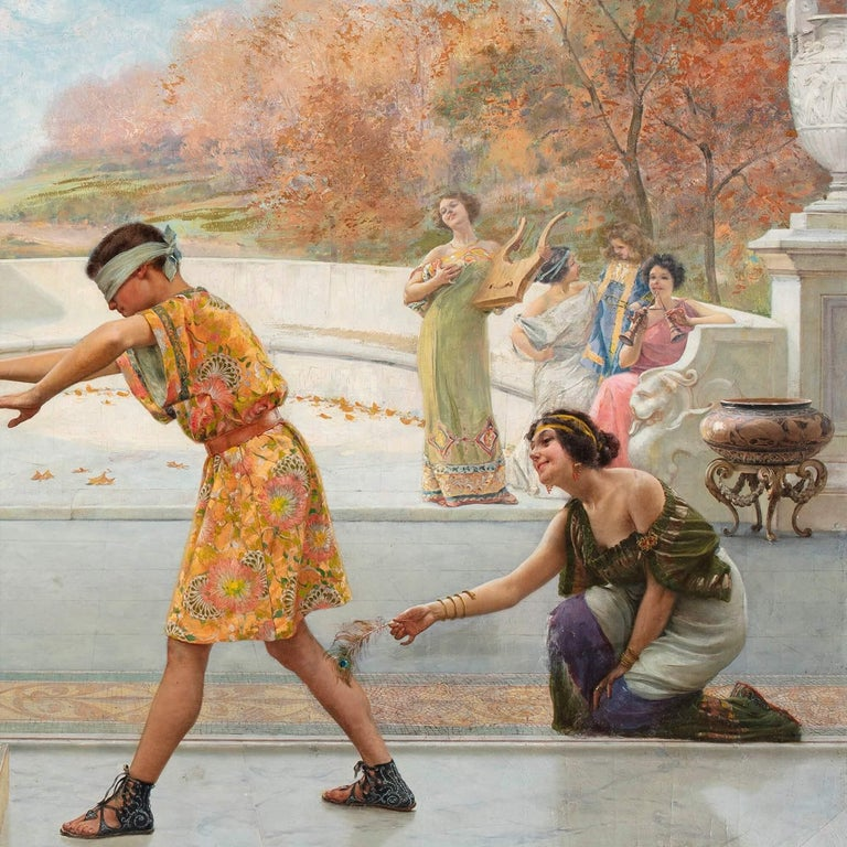 'Blind Man's Bluff', Large Italian Oil Painting by Emilio Vasarri For Sale 3