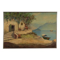 Landscape by Italo Giordani Como Lake Early 20th Century