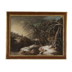 Painting by Luigi Deleidi il Nebbia Winter Landscape 1800s