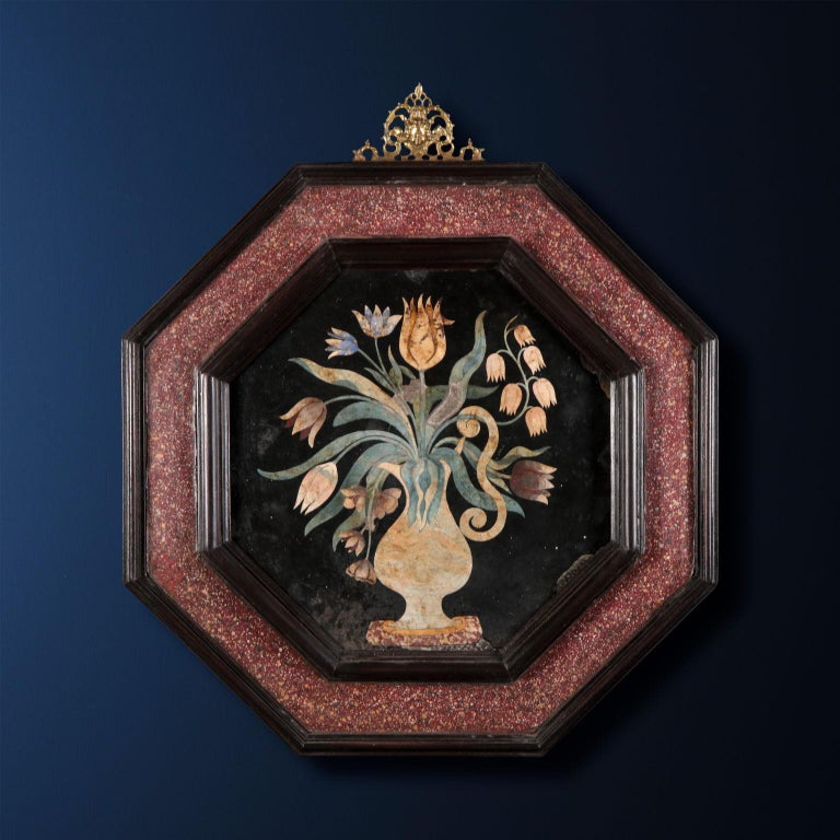 Scagliola, Flowers Vase Tuscany, end 17th century. - Art by Unknown