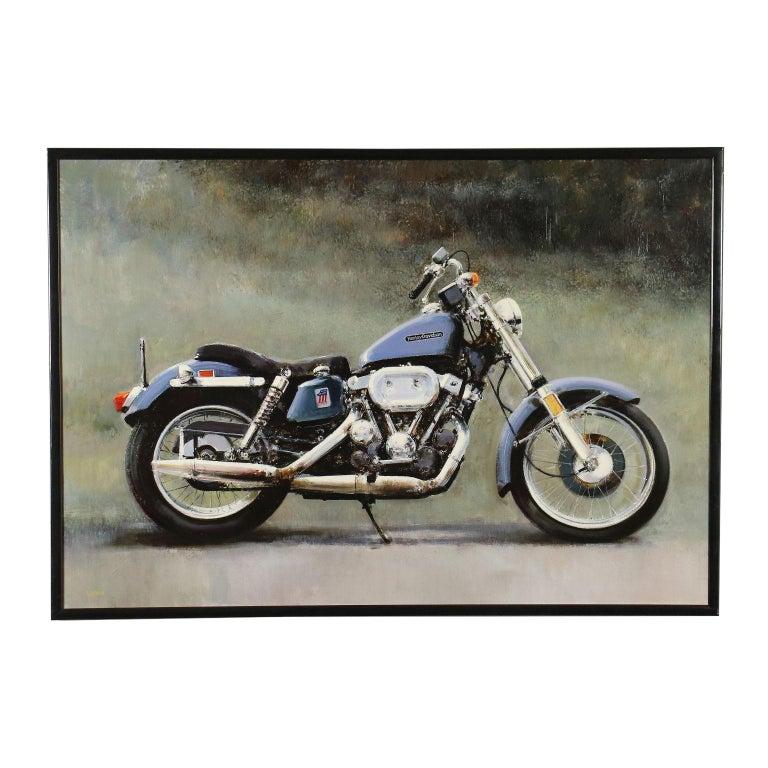 Luigi Rocca Acrylic On Canvas 20th Century, Harley-Davidson Sportster 900, 1996 - Art by Luigi Rocca