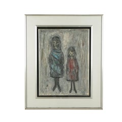 Xavier Bueno Contemporary Oil On Paperboard , Girls