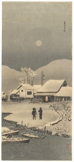 Shotei Takahashi, Snow, Landscape, Shin-Hanga, Original Japanese Woodblock Print